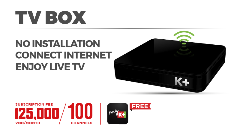 K+ TV BOX with Lineup 110 channels and free myK+ app